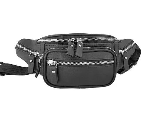 Compact Leather Waist Bag - Biker Wear House