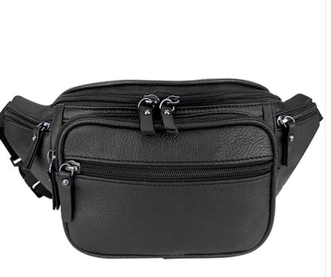 Leather Waist Bag with Zippered Compartments - Biker Wear House