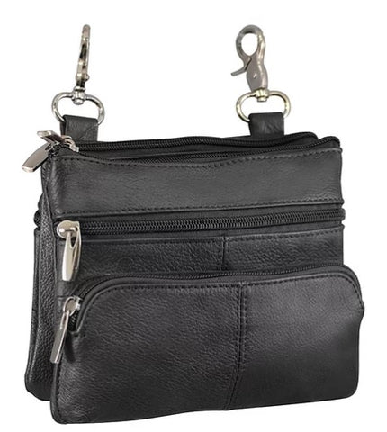 Black Leather 5-Pocket Clip Purse - Biker Wear House