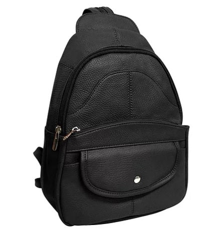 Leather Backpack with Cell Phone Pocket - Biker Wear House