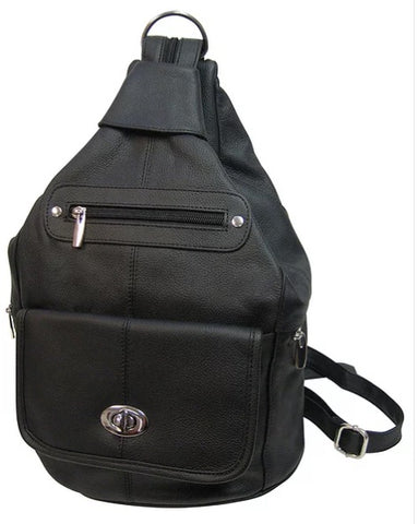 Backpack with Zippers and Buckles - Biker Wear House