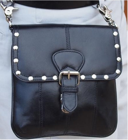 Black Leather Studded Belt Purse - Biker Wear House