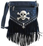 Fashion Fringe Purse with Skull and Crystal Bling - Biker Wear House