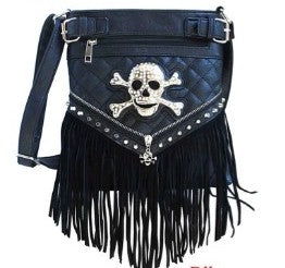 Crystal Skull Cross Body Purse - Biker Wear House