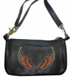 Black Leather Clip Bag with Wings - Biker Wear House