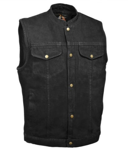 Men's Snap Front Denim Club Style Vest with Conceal Carry Pocket - Biker Wear House