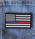 Red and Blue Line Law Enforcement and Firefighter Support American Flag Patch