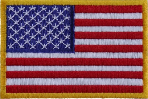 U.S.A. Flag Patch with Yellow Border - Biker Wear House