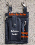 Black Leather Belt Purse with Concealment Pocket - Biker Wear House