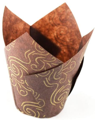Tulip Cupcake Liners - Brown/Gold