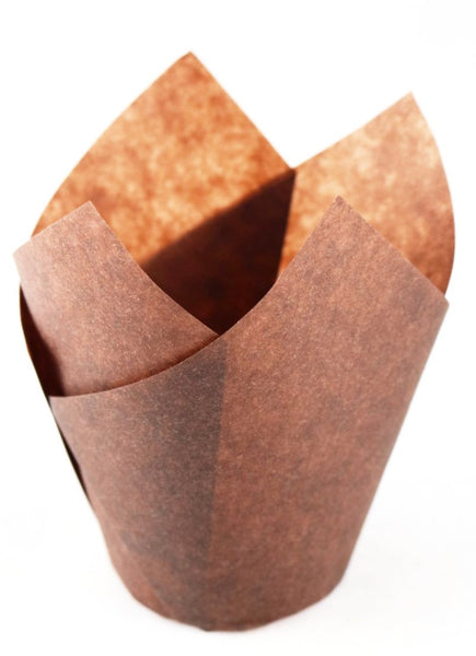 Unbleached Brown Tulip Cupcake Baking Liners (120 Pcs) - Fits Standard Muffin Pans