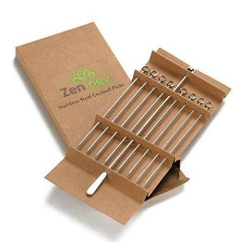 Stainless Steel Cocktail Picks – extra long (5 inches) - pack of 8