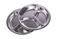 Stainless Steel Dinner Plates (Set of 2) Sectioned Compartment Dinner Plates