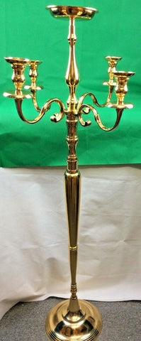 Handmade 5Arm Traditional Candelabra Vintage Metal Home/Hal Deco Gold H150cm New