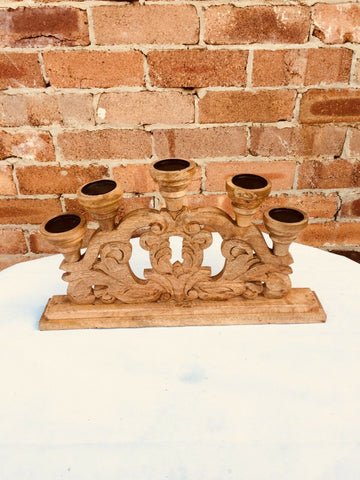 Handmade Artistic Candle-stand Home Decor Pure Wood w Design 50x10x30cm Stylish