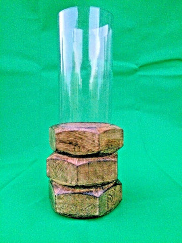 Artistic Americana Handcrafted Pillar Candleholder Glass Wood 12.5x12.5x33 cm NEW
