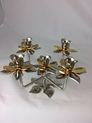 Traditional Candelabra Lotus 5-Arm Brass Gold & Nickel plated 23x23x13 cm Modern