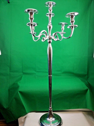 Metal Antique Traditional 5 Arm Candelabra Aluminium Silver 60x60x128 cm New Large