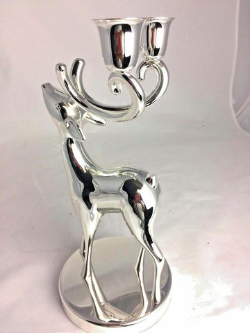 Silver Plated Reindeer Candle Holder Candelabra Handcrafted Christmas Decor