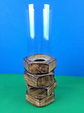 Americana Handcrafted Candleholder Artistic w Glass Shade Wooden Base13x13x41cm
