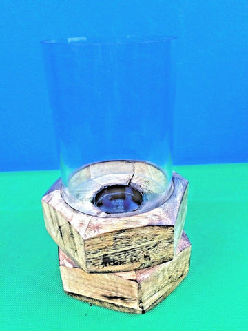 Americana Handmade Artistic Candleholder w Glass Shade Wood Color 13x13x25.5 cm