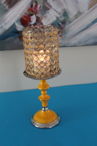 Genuine Crystal Beaded Pillar CandleStand Aluminium/Nickel Yellow 13x13x34cmNew
