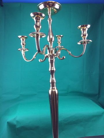 Handmade 5-Arm Traditional Candelabra Vintage Metal Home/Hal Deco Gold H150cm New
