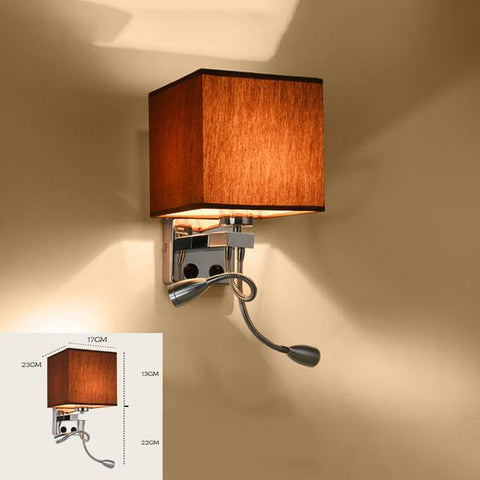 Modern Fabric Cube Shaped Linen Shade Bedside LED Wall Lamp