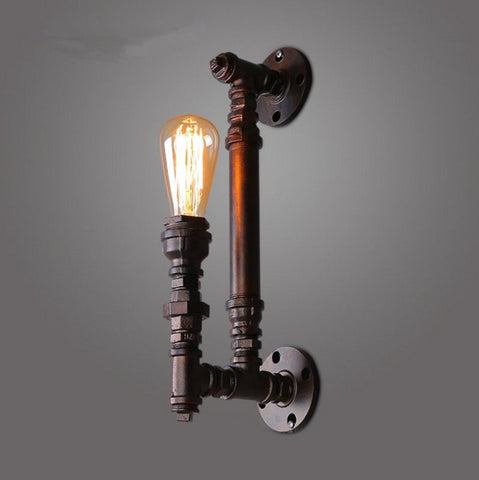 Vintage Industrial Metal Pipe Edison Bulb Wall Lamps