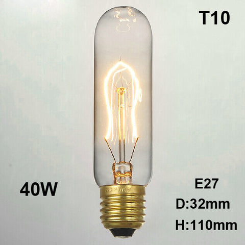 Edison Bulb Retro Vintage Light 40W Incandescent Lamp E27 220V T10
