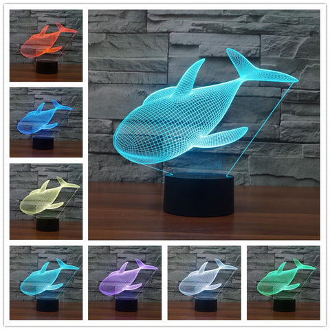 3D FISH LED Table Lamp Night Light - Rechargeable with AC Plug