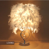 Feather Crystal Reading Table Lamp E27