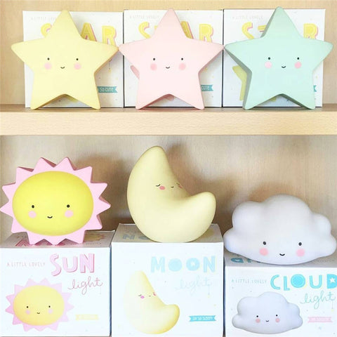 Creative Moon, Star, Sun, LED Night Toy for Children - Battery Operated
