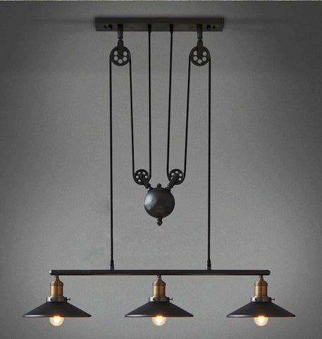 Loft Iron Pulley Vintage Decoration Pendant Light E27