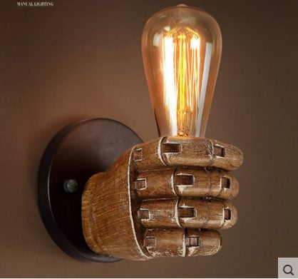 Articulated Robot Hand Holding Bulb Wall Sconce
