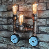 3-Head Pipe with Gauges Industrial Vintage Steampunk Wall Lamps / Sconces