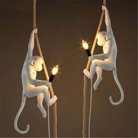 Vintage Monkey with Rope Pendant Lights