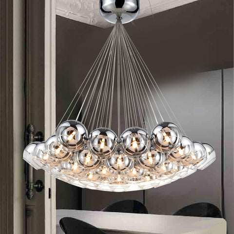 Modern Chrome Glass Balls LED Pendant Chandelier Light