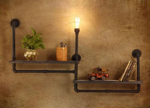 Industrial Pipe Vintage Shelf Wall Lights Fixture