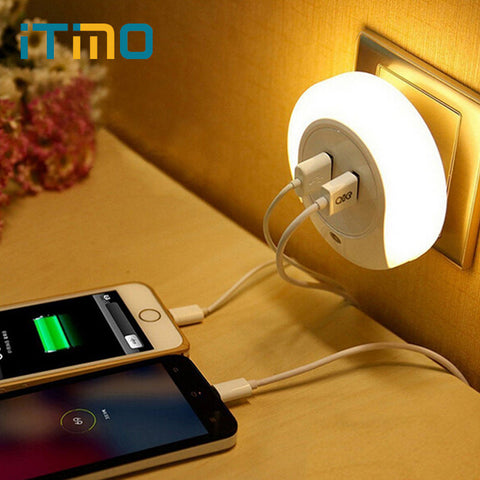 LED Night Light with 2 USB Port Mobile Phone Charger with Light Sensor Warm White