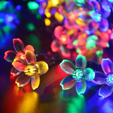 Solar Led Outdoor Colorful Flowers Light String 7meters with 50LEDS Waterproof Warm White