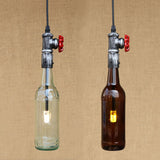 Retro industrial Water Pipe on wine bottle as lampshade pendant lamp