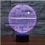 3D DEATH STAR LED Table Lamp Night Light - Rechargeable with AC Plug