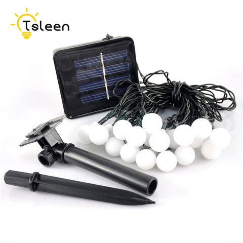TSLEEN Solar Power Outdoor 7m 50led Festoon Party Ball string lighting led Christmas Lights fairy wedding garden pendant garland