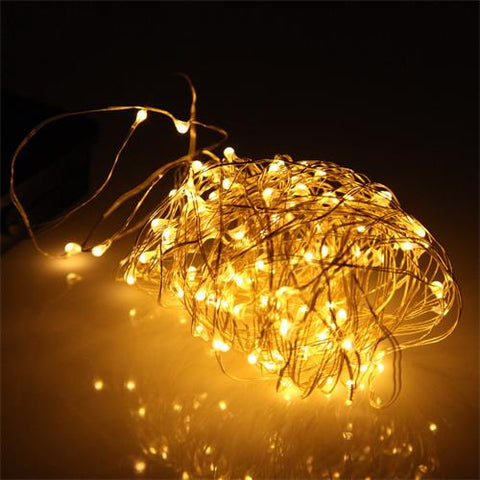 20M 100LED Solar Powered Copper Wire LED Fairy String Lights Outdoor Waterproof Patio Lamp for Garden Holiday Party Decoration