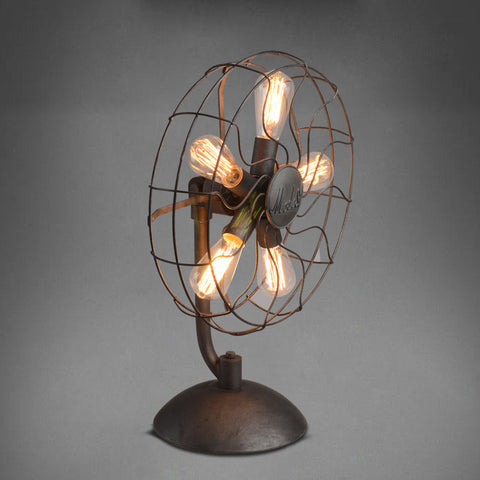 American Loft Vintage Electric Fan Table Lamp with 5 pcs Edsion Bulb E27