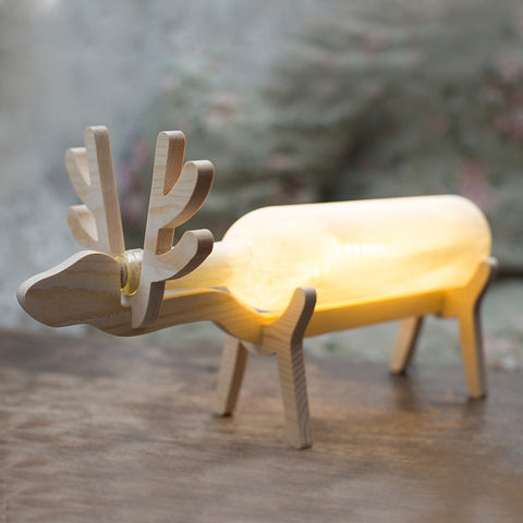 Novelty Wooden Deer Design LED Night Light