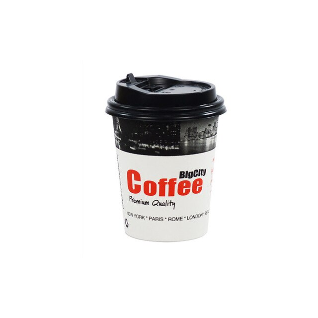 50pcs Creative disposable coffee tea takeaway packaging cups with lid