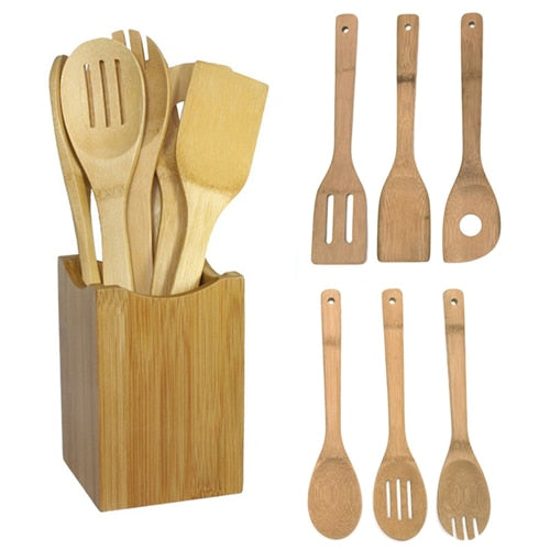 6 pcs Bamboo Spoon Spatula Kitchen Utensil Wooden Cooking Tools