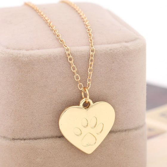 Heart Shaped Cat Paw Pendant Necklace